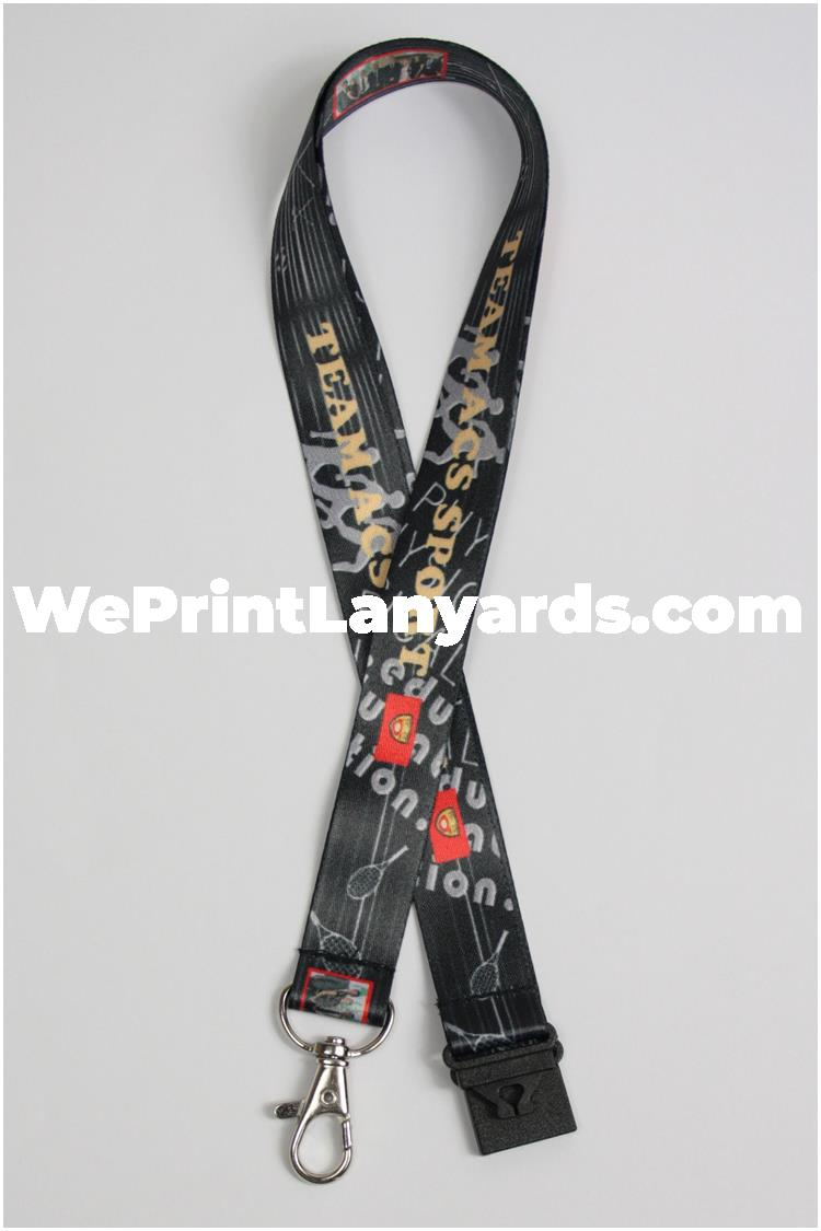 Black printed sport team group lanyard