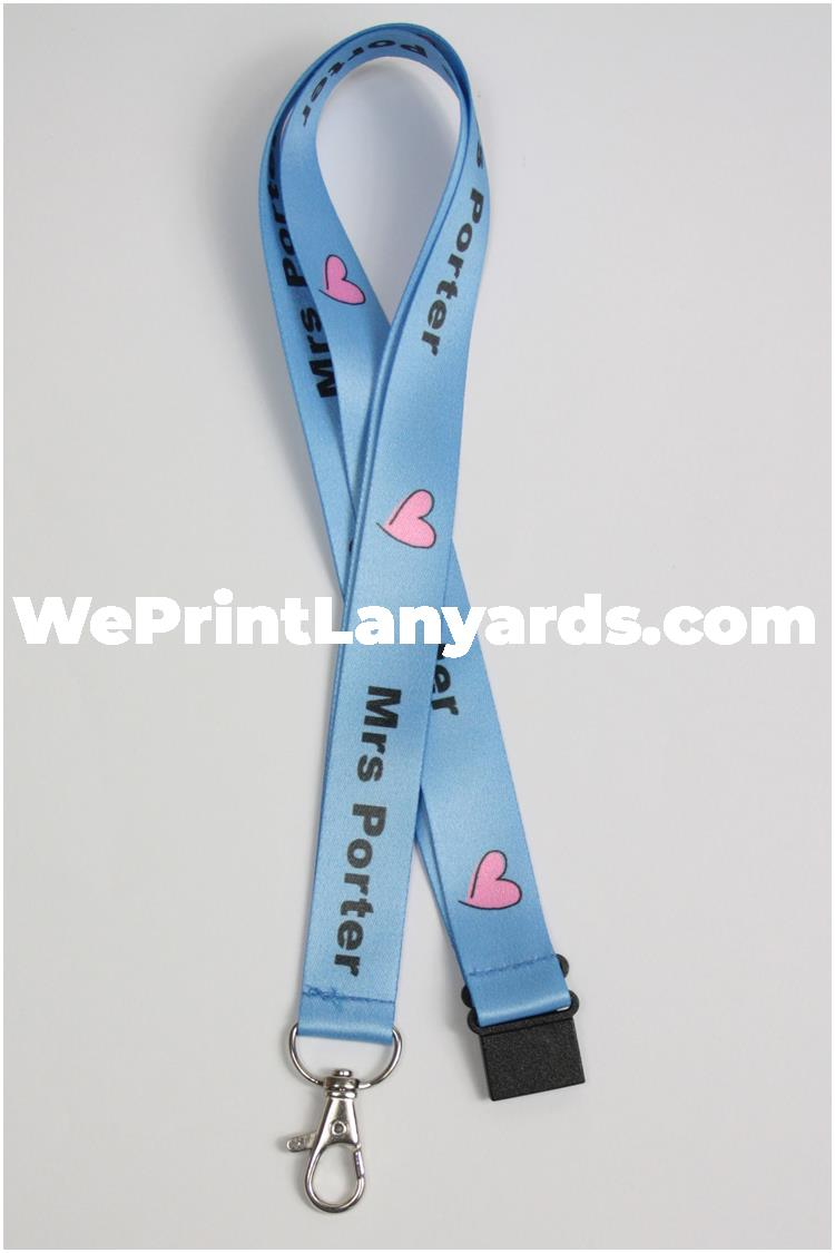 blue custom printed teachers personalised lanyard
