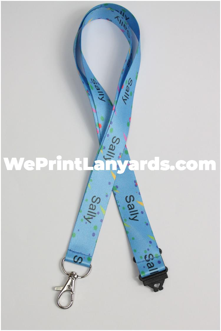 Blue spotted personalised name lanyard
