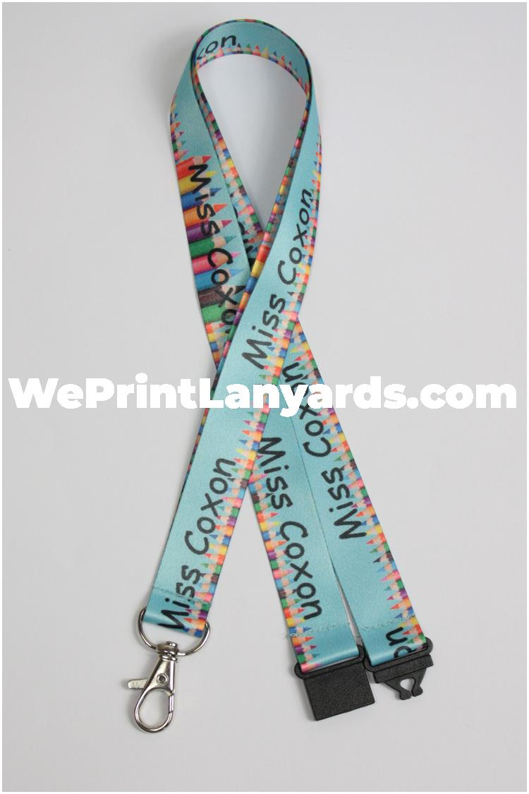 Sky blue pencil printed personalised lanyard