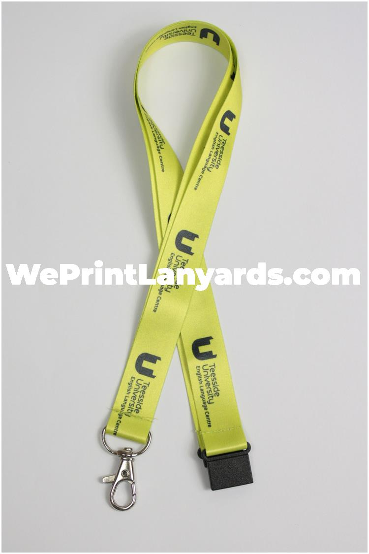University logo printed yellow lanyard