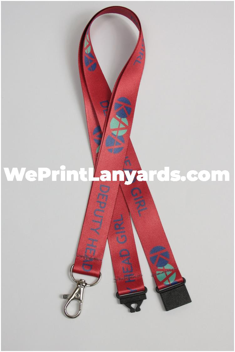 red head girl school logo printed lanyard