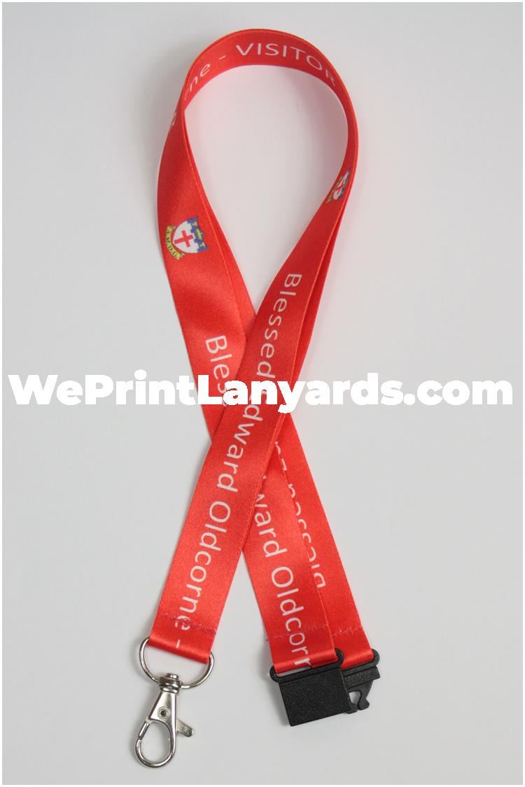 Red bespoke school printed lanyard