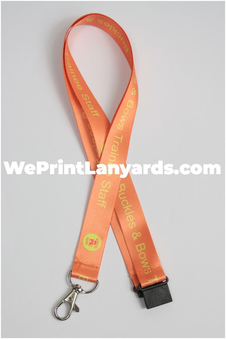 Peach school staff logo printed lanyard