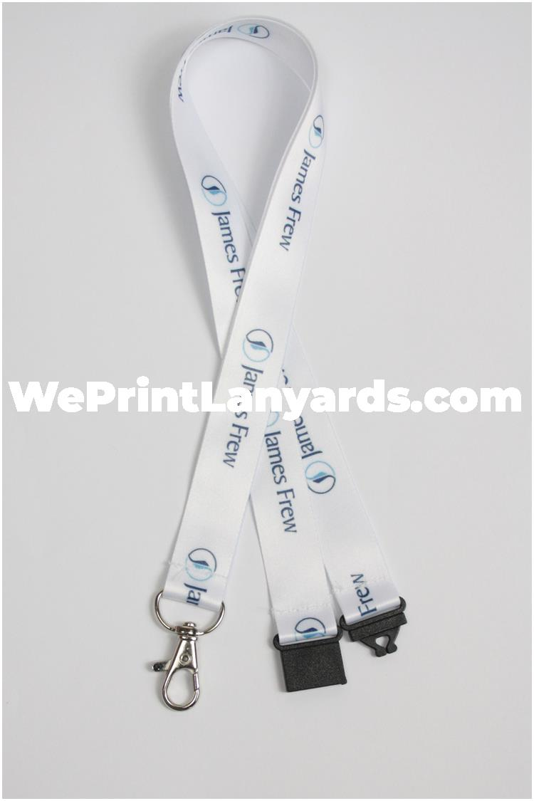 White custom printed lanyard with logo