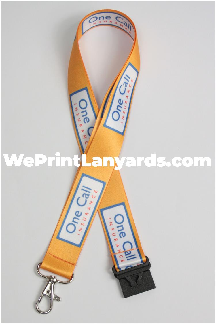 Yellow insurance company logo printed lanyard