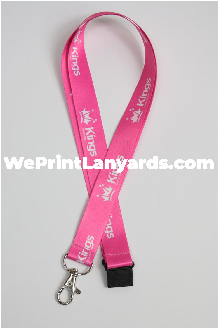 Pink printed lanyard with business logo