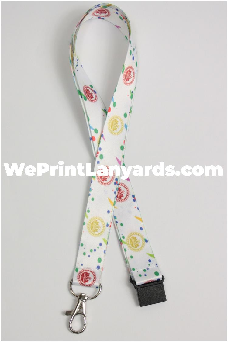 white spotty printed lanyard with company logo