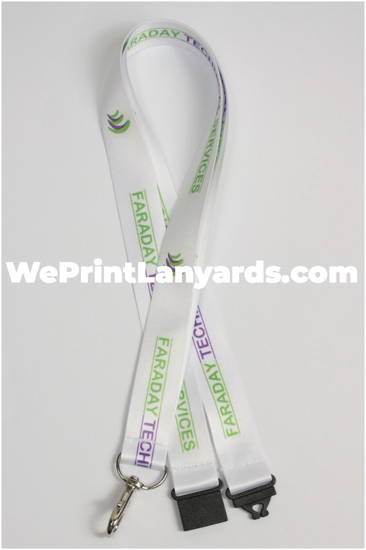 White corporate branded printed lanyard