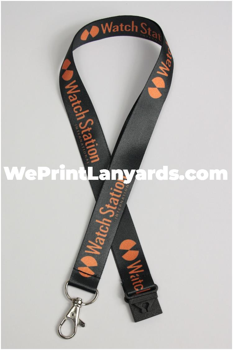 black logo printed retail lanyard