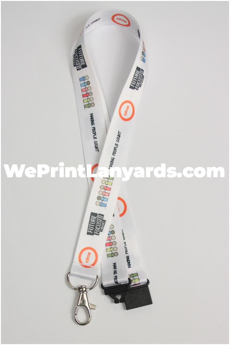 White bespoke branded event lanyard