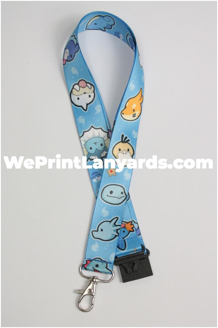 Full colour blue fun funky cool cartoon lanyard