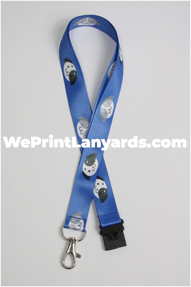 royal blue cartoon dog printed lanyard