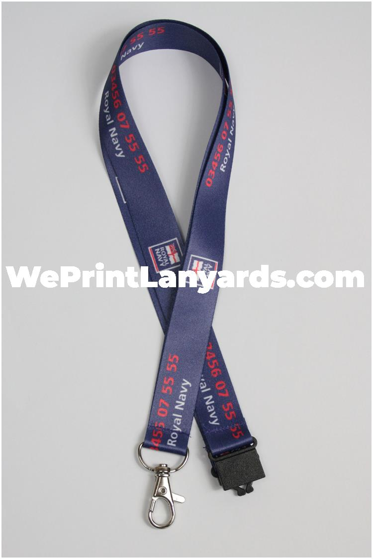 navy blue security forces custom printed lanyard
