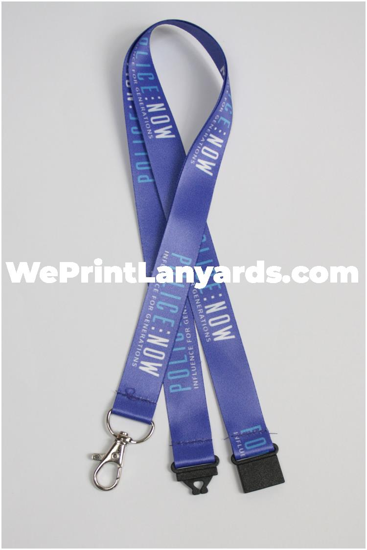 Blue police security lanyard
